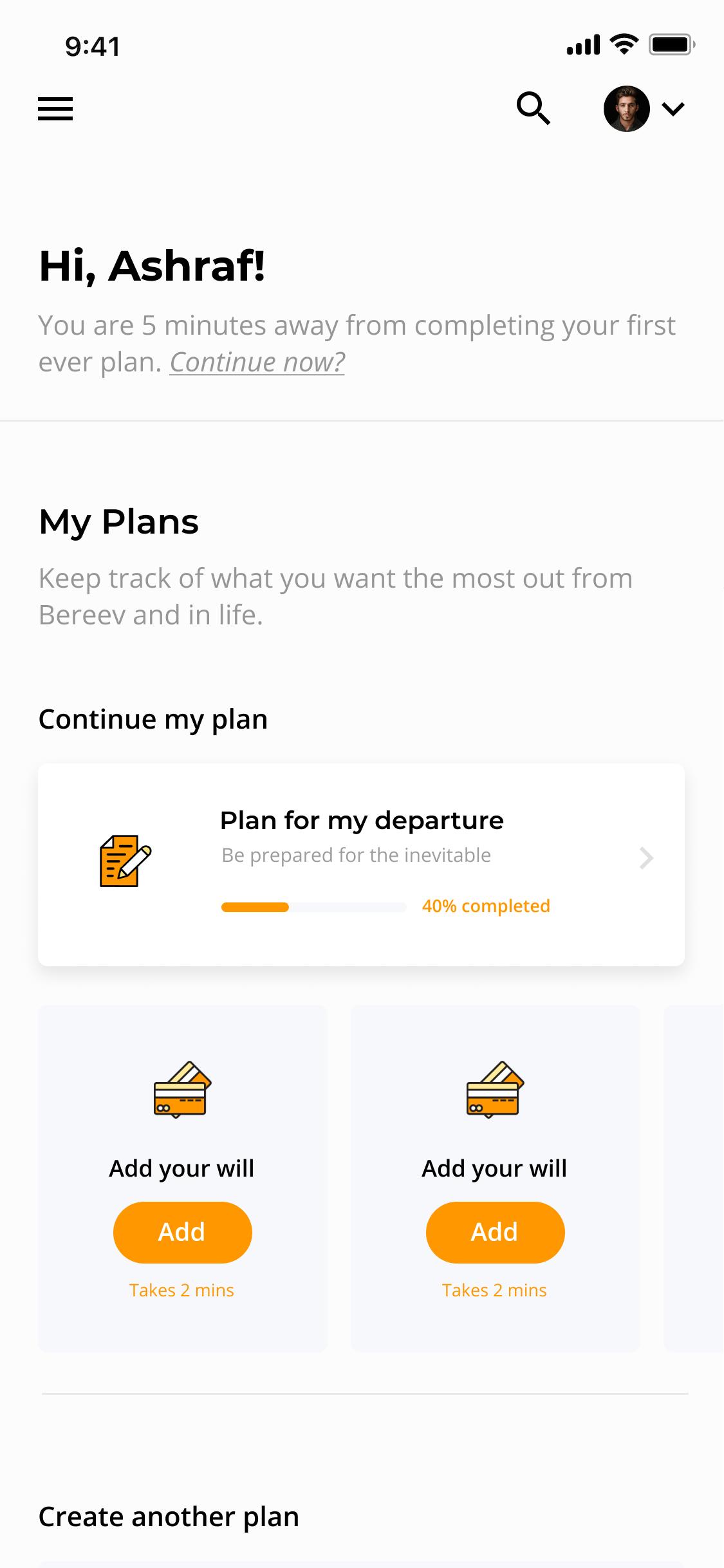 Bereev App - Dashboard